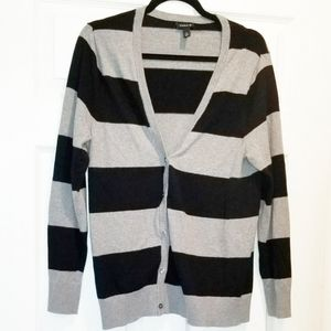 TORRID Black and grey striped cardigan